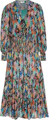 Rixo Maya Smocked Printed Crepe Midi Dress