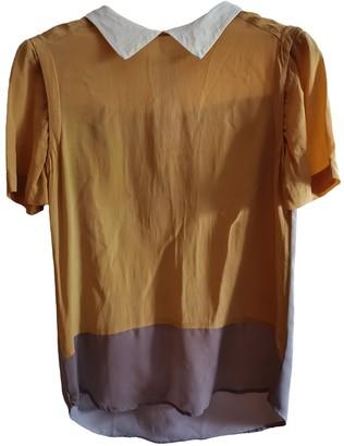 Celine Yellow Silk Tops