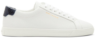 Saint Laurent White Perforated Calfskin Andy Sneakers