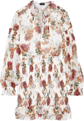 Nicholas Shirred Floral-print Silk-chiffon Mini Dress
