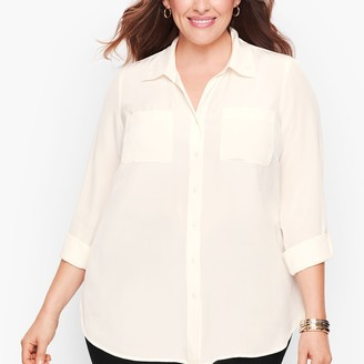 Talbots Washable Silk Camp Shirt