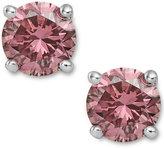 Macy's 14k White Gold Earrings, Treated Pink Diamond Stud Earrings (1 ct. t.w.)