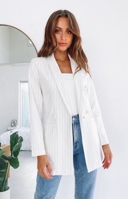 Bb Exclusive Riley Blazer Jacket Cream & Gold Pinstripe