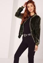 Missguided Velvet Bomber Jacket Khaki