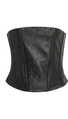 Saks Potts Tattoo Logo-Embossed Leather Corset Top