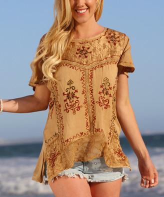 Ananda's Collection Women's Tunics tan - Tan Floral Tunic - Women & Plus