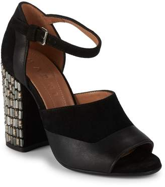 Marni Studded Suede & Leather D'Orsay Block Heel Sandals
