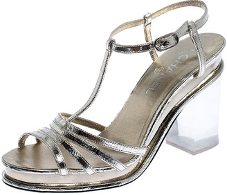 Chanel Light Gold Metallic Strappy Leather Open Toe Platform Clear Heel Sandals Size 39