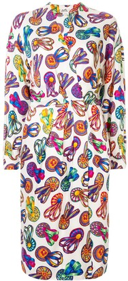 Hermes Pre Owned ribbons print midi dress