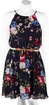 Iz Byer Juniors' Plus Size Belted Floral Halter Skater Dress