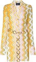 Belted Wave Pattern Dress