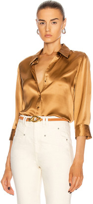 L'Agence Dani 3/4 Sleeve Blouse in Biscotti | FWRD