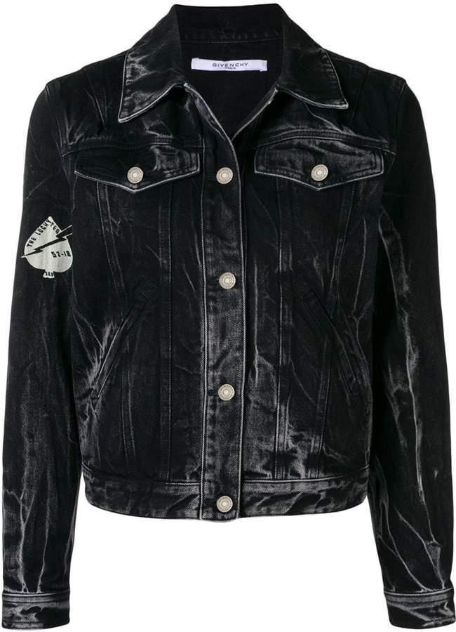 Givenchy Creatures print stonewashed denim jacket