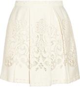 SEA Pleated crocheted lace mini skirt