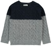 Hartford Two-Tone Cable Knit Shetland Pullover
