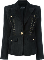 Balmain lace-up detailed blazer - women - Cotton/Lamb Skin/Viscose - 42