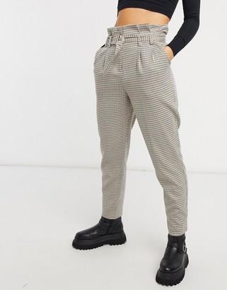 Miss Selfridge paperbag pants in check co-ord