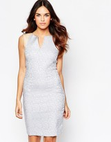 Hybrid Kirsty Jacquard Plunge Dress with Faux Leather Trim