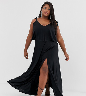 ASOS DESIGN Curve tie shoulder pleated crop top maxi dress