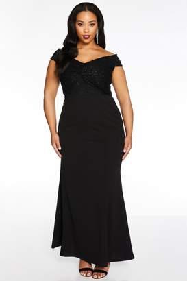 Quiz Curve Black Lace Knot Front Maxi Dress