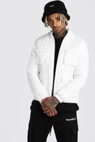 boohoo Mens White 4 Pocket Padded Funnel Neck Jacket, White
