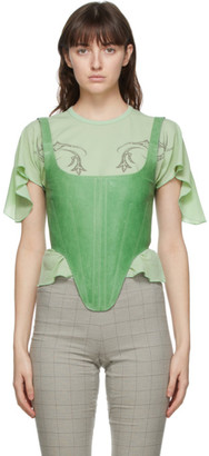 Charlotte Knowles SSENSE Exclusive Green Bullet Corset