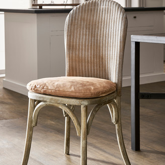 OKA Lalee Chair - Natural & Leather Seat Pad - Aged Tobacco Leather