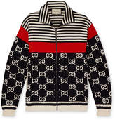 Gucci - Logo-Intarsia Striped Cotton Zip-Up Sweater