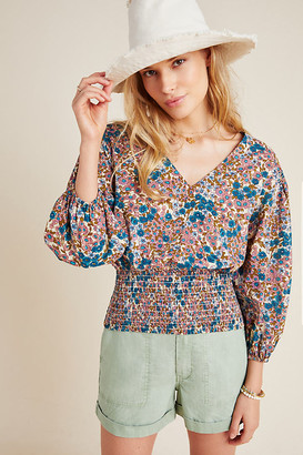 Maeve Odette Smocked Blouse By in Blue Size XS