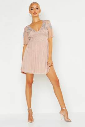 boohoo Embellished Top V Neck Skater Dress