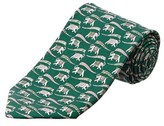 Salvatore Ferragamo Green Elephant Silk Tie.
