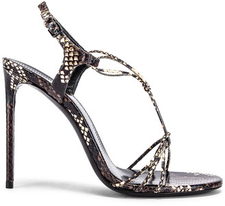 Saint Laurent Robin Lace Sandals in Brown | FWRD
