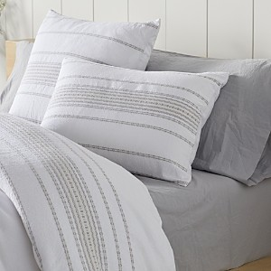 Coyuchi Organic Cotton Alpine White Rippled Stripe Standard Sham