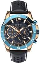 Sekonda Chronograph Style Dark Blue Leather Strap Mens Watch