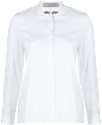 D-Exterior Embellished Collar Long-Sleeved Shirt