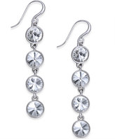 Charter Club Bezel-Set Crystal Linear Earrings, Only at Macy's