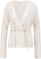 Brunello Cucinelli Stretch-silk satin-paneled cashmere cardigan