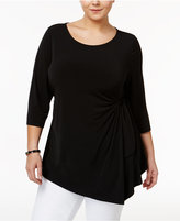 Alfani Plus Size Side-Tie Asymmetrical Hem Top, Only at Macy's