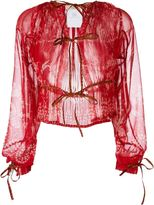 Etro knot detail sheer blouse - women - Polyester - 44