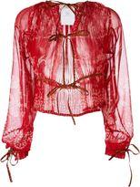 Etro knot detail sheer blouse