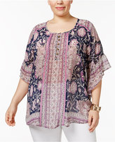 Style&Co. Style & Co Plus Size Sheer Printed Flutter-Sleeve Top, Created for Macy's