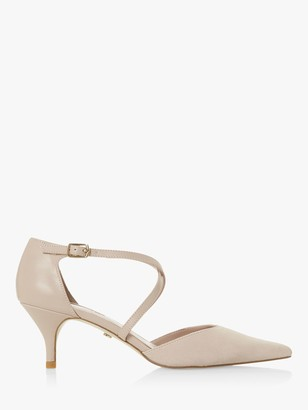 Dune Carta Suede Kitten Heel Court Shoes, Blush