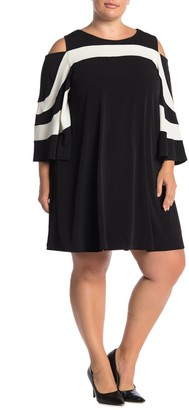 Nina Leonard Cold Shoulder Jewel Neck Miracle Dress (Plus Size)