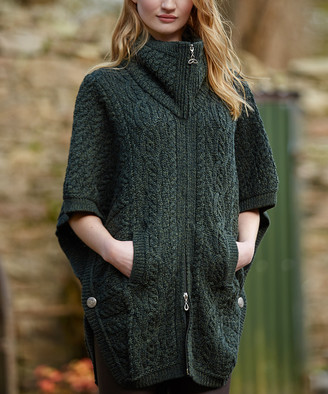 West End Knitwear Women's Ponchos Army - Army Green Double-Collar Zip-Front Wool Cape - Women