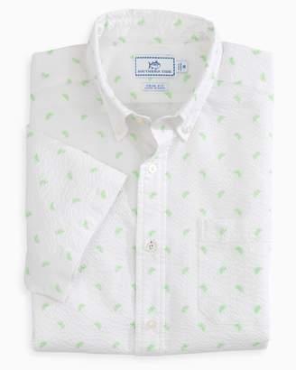 Southern Tide Pick Up Limes Seersucker Short Sleeve Button Down Shirt