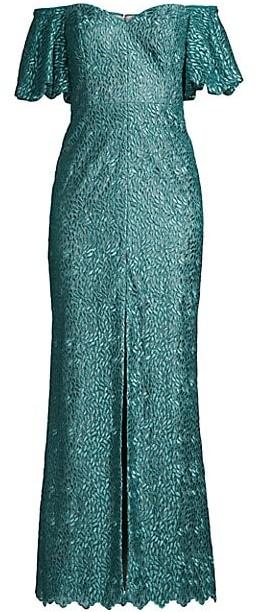 Aidan Mattox Off-The-Shoulder Puff-Sleeve Petal Evening Gown