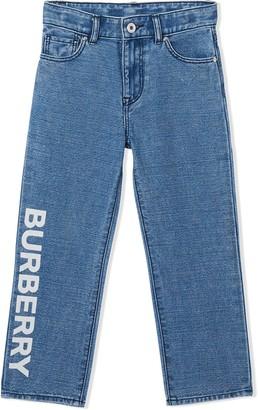 BURBERRY KIDS TEEN logo print Japanese jeans