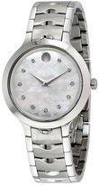 Movado Women's Steel Bracelet & Case Swiss Quartz Mop Dial Watch 0607055