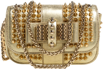 Christian Louboutin Gold Leather Mini Spiked Sweet Charity Crossbody Bag