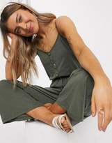 Asos Design DESIGN lounge cami jumpsuit with button front in khaki